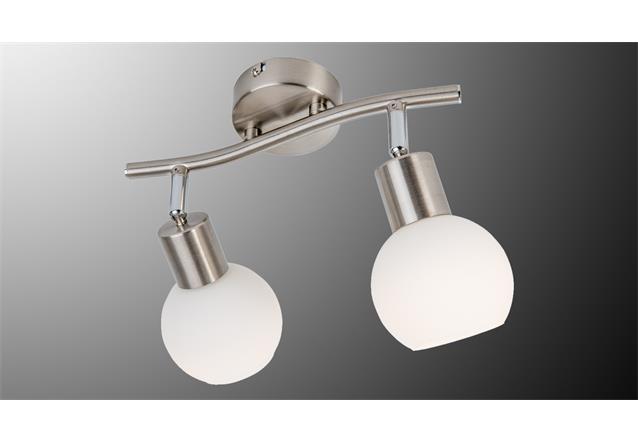 Led deckenleuchte loxy 2 flg balken lampe nickel glas wei for Deckenleuchte led balken