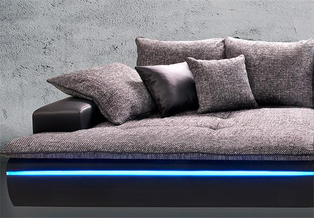 big sofa contempo megasofa loungesofa in schwarz silber inkl rgb led ebay. Black Bedroom Furniture Sets. Home Design Ideas