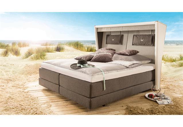 boxspringbett sansibar 2 bett braun beige in strandkorb optik mit topper 180x200 ebay. Black Bedroom Furniture Sets. Home Design Ideas