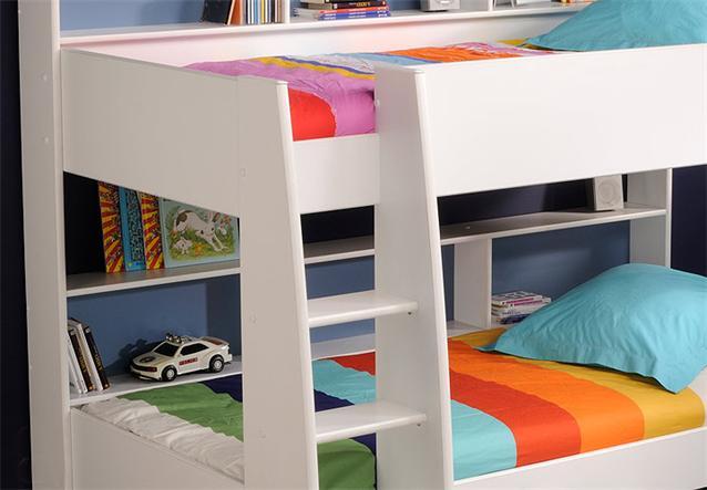 etagenbett tam tam hochbett kinderbett doppelstockbett in wei mit leiter ebay. Black Bedroom Furniture Sets. Home Design Ideas
