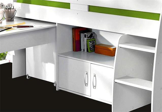 hochbett reverse jugendzimmer kinderbett in wei mit schreibtisch kommode leiter. Black Bedroom Furniture Sets. Home Design Ideas