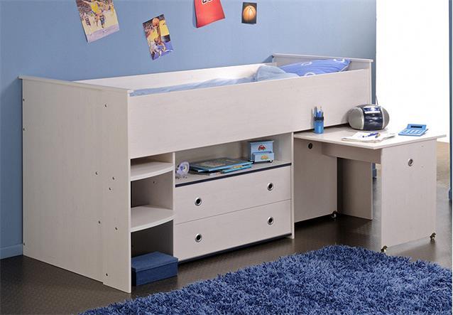 hochbett smoozy 1 kinderbett schreibtisch kiefer wei. Black Bedroom Furniture Sets. Home Design Ideas