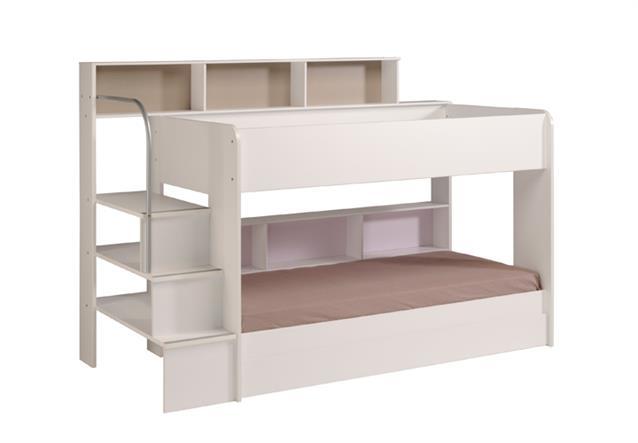 etagenbett bibop hochbett wei mit treppe b cherregalen. Black Bedroom Furniture Sets. Home Design Ideas