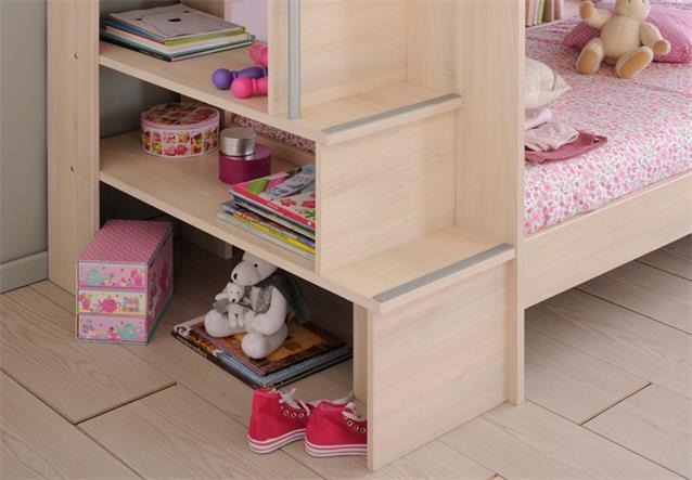 etagenbett bibop hochbett akazie mit treppe b cherregalen stauraum bettkasten. Black Bedroom Furniture Sets. Home Design Ideas