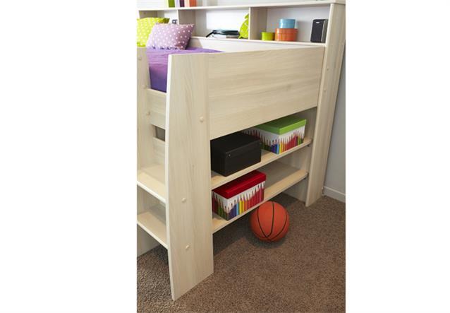 halbhohes bett charly 2 hochbett etagenbett akazie mit. Black Bedroom Furniture Sets. Home Design Ideas