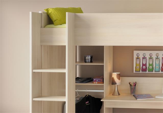 hochbett charly 3 etagenbett in akazie mit schreibtisch. Black Bedroom Furniture Sets. Home Design Ideas