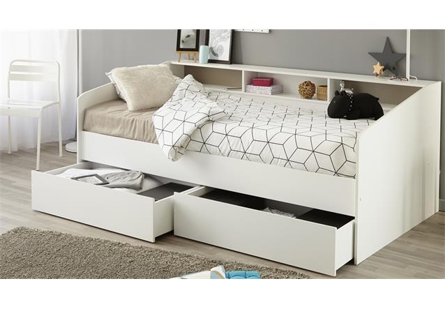 stauraumbett sleep 1 einzelbett bett in wei mit ablage bettschubkasten 90x200 ebay. Black Bedroom Furniture Sets. Home Design Ideas