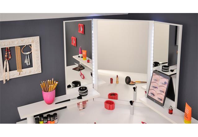 eck schminktisch volage frisierkommode spiegeltisch tisch in wei mit led ebay. Black Bedroom Furniture Sets. Home Design Ideas