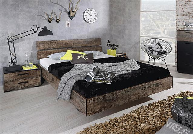 bett sumatra doppelbett schlafzimmerbett in braun vintage. Black Bedroom Furniture Sets. Home Design Ideas