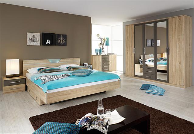 schlafzimmer set valence bett kommode schrank sonoma eiche s gerau wei ebay. Black Bedroom Furniture Sets. Home Design Ideas
