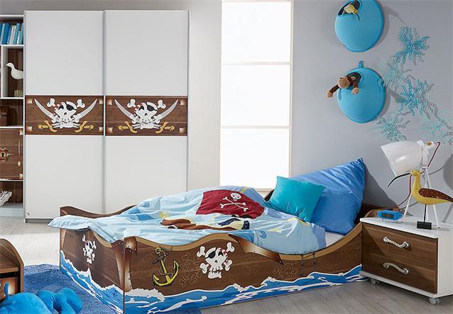 kinderzimmer set iv drake bett schrank schreibtisch regal wei kern nussbaum ebay. Black Bedroom Furniture Sets. Home Design Ideas