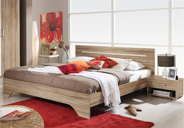 schlafzimmer rubi bett mit nachtkonsolen und kleiderschrank eiche sanremo hell ebay. Black Bedroom Furniture Sets. Home Design Ideas