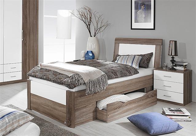 bett arona futonbett in havanna eiche und wei hochglanz. Black Bedroom Furniture Sets. Home Design Ideas