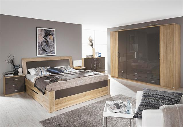 schlafzimmer set arona bett schrank nako sonoma eiche und lava hochglanz 4 tlg ebay. Black Bedroom Furniture Sets. Home Design Ideas