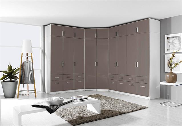 eckschrank celle kleiderschrank schrank lavagrau hochglanz wei 117 cm ebay. Black Bedroom Furniture Sets. Home Design Ideas