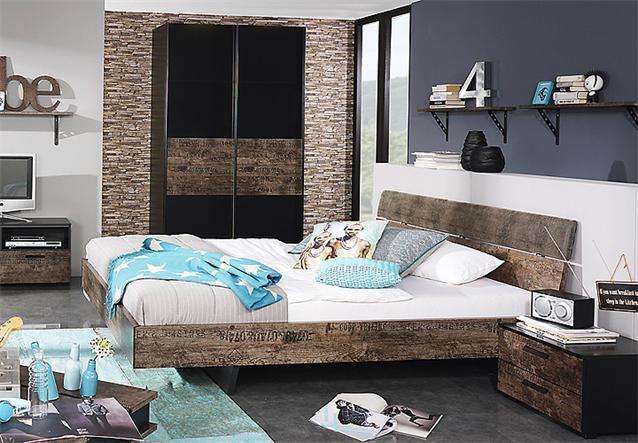 jugendzimmer set sumatra bett schrank kommode in schwarz braun vintage look ebay. Black Bedroom Furniture Sets. Home Design Ideas