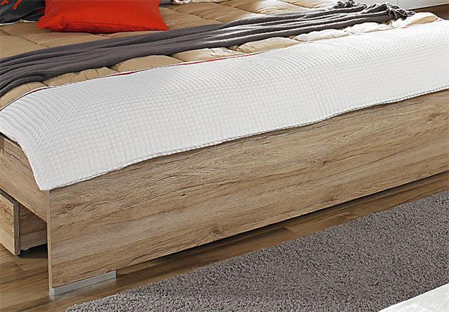 bettanlage lorca bett nako eiche sanremo hell wei hochglanz 180x200 cm. Black Bedroom Furniture Sets. Home Design Ideas