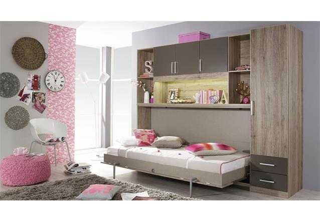 schrankbett albero mit regal eiche lavagrau 90x200 cm regal kleiderschrank ebay. Black Bedroom Furniture Sets. Home Design Ideas