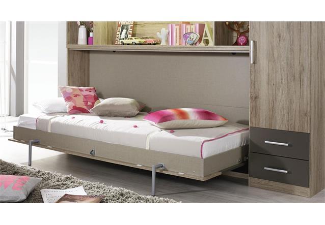 schrankbett albero mit regal eiche lavagrau 90x200 cm regal kleiderschrank ebay. Black Bedroom Furniture Sets. Home Design Ideas