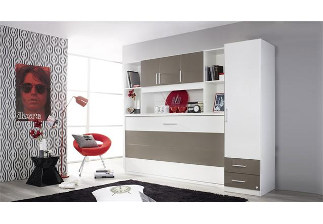 schrankbett albero 90x200cm mit regal kleiderschrank wei lava kinderzimmer ebay. Black Bedroom Furniture Sets. Home Design Ideas