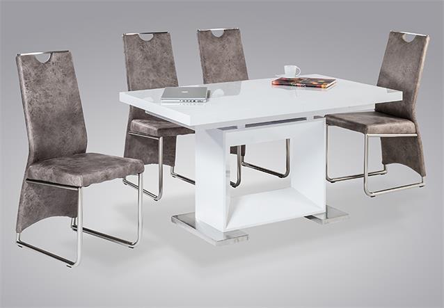 esstisch bibi esszimmertisch tisch wei hochglanz edelstahl ausziehbar 140 180. Black Bedroom Furniture Sets. Home Design Ideas