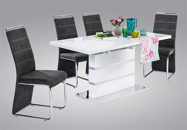 esstisch taipeh esszimmertisch tisch wei hochglanz edelstahl ausziehbar 160 200 ebay. Black Bedroom Furniture Sets. Home Design Ideas