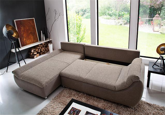 ecksofa solo eckgarnitur in braun beige inkl bettkasten recamiere links 205x300 ebay. Black Bedroom Furniture Sets. Home Design Ideas