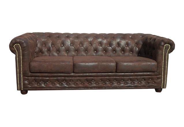 sofa sheffield 3 sitzer chesterfield polsterm bel 3er couch in microfaser braun ebay. Black Bedroom Furniture Sets. Home Design Ideas