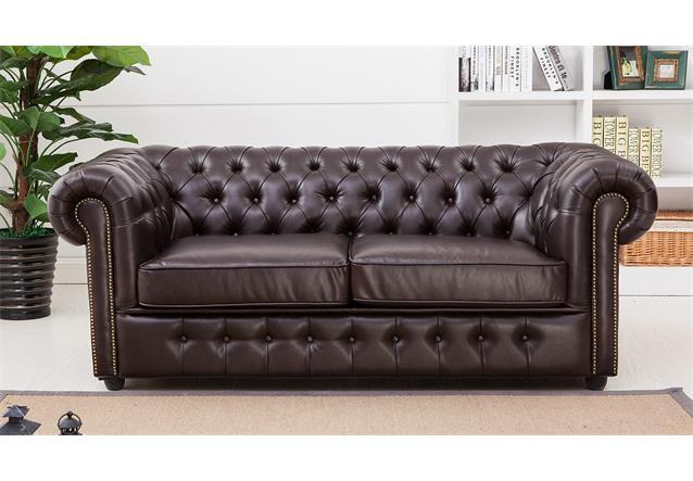 sofa chesterfield 3 sitzer 3er sofa in dunkelbraun braun gl nzend mit steppung ebay. Black Bedroom Furniture Sets. Home Design Ideas