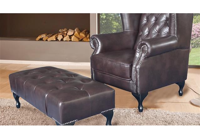 chesterfield ohrensessel mit hocker sessel in dunkelbraun gl nzend mit steppung ebay. Black Bedroom Furniture Sets. Home Design Ideas