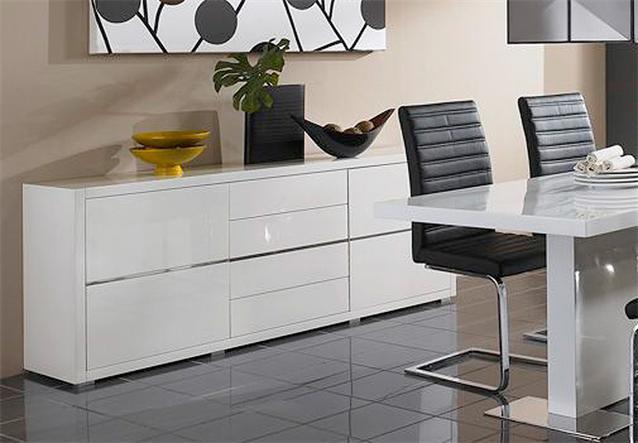 sideboard sydney i kommode in wei hochglanz lackiert ebay. Black Bedroom Furniture Sets. Home Design Ideas