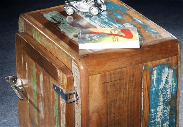 nachttisch fridge beistelltisch echt altholz bunt lackiert vintage industrial de ebay. Black Bedroom Furniture Sets. Home Design Ideas