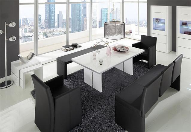 tischgruppe architekt elias esszimmer tisch wei bank und sessel in schwarz. Black Bedroom Furniture Sets. Home Design Ideas