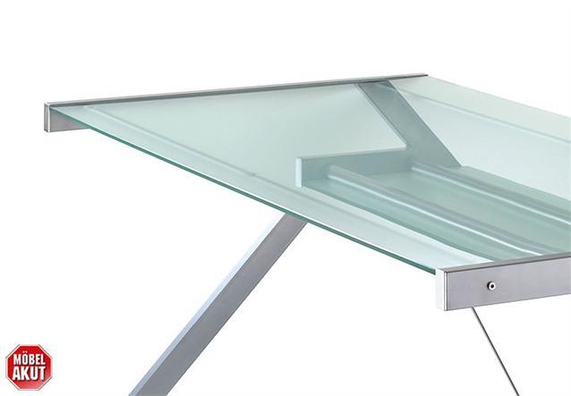schreibtisch z line tisch b rotisch glas klar metall chrom neu ebay. Black Bedroom Furniture Sets. Home Design Ideas