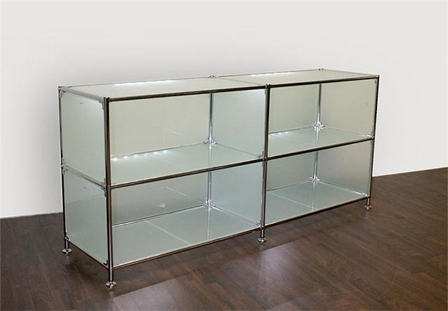 sideboard regal metal chrom glas satiniert neu ebay. Black Bedroom Furniture Sets. Home Design Ideas