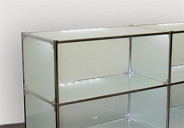 sideboard regal metal chrom glas satiniert neu ebay. Black Bedroom Furniture Sets. Home Design Ideas