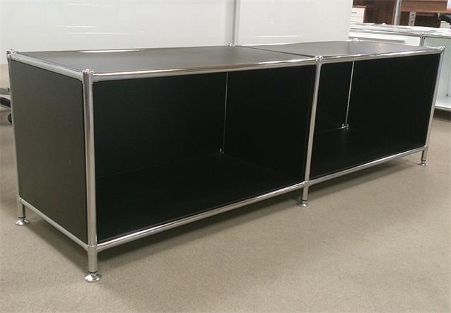 Lowboard regal in metall schwarz und chrom neu ebay for Regal metall schwarz