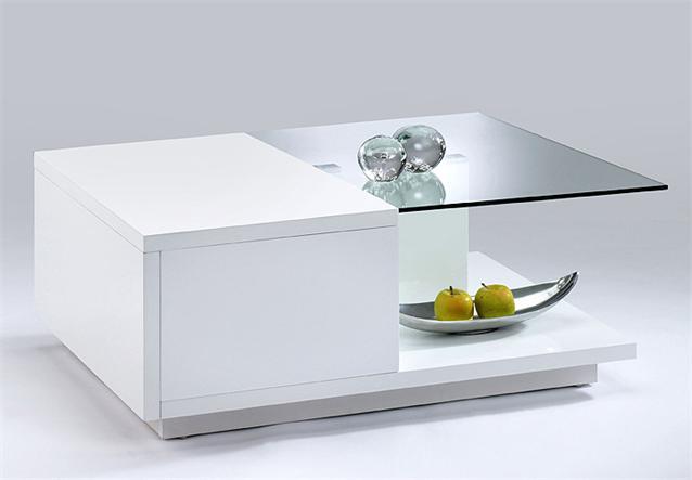 Couchtisch Tisch Glas Weiss Lackiert Edelstahloptik