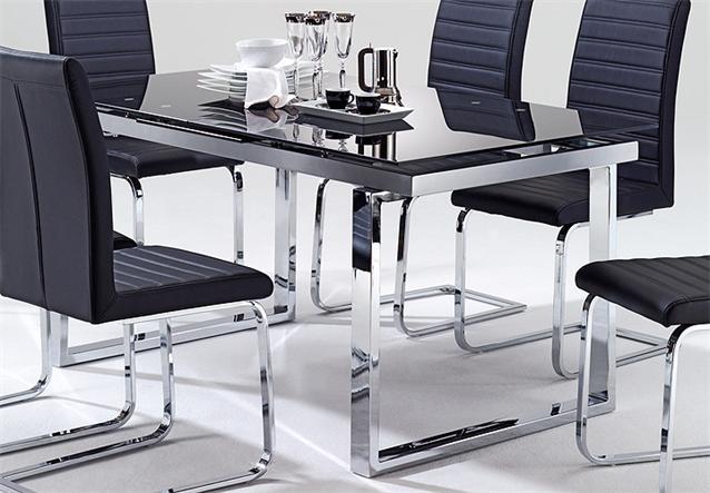 Esstisch ravenna tisch esszimmertisch glas schwarz for Esstisch ausziehbar metallgestell
