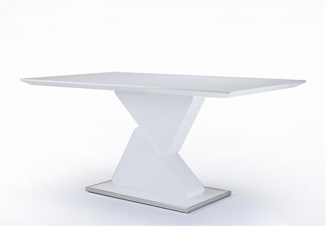 Säulentisch Cube Esstisch Tisch in weiß Hochglanz lackiert 160