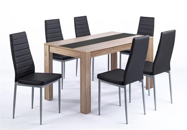 tischgruppe pegasus esszimmer k che tisch sonoma eiche 6 st hle in schwarz ebay. Black Bedroom Furniture Sets. Home Design Ideas