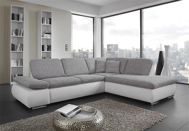 ecksofa vigo sofa wohnlandschaft in wei grau mit funktion 264x208 ebay. Black Bedroom Furniture Sets. Home Design Ideas