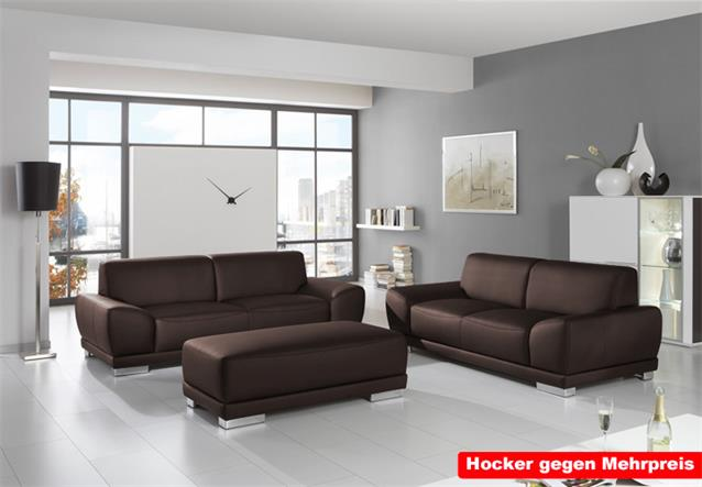 sofagarnitur manila wohnzimmersofa 2er und 3er sofa leder braun coffee chrom ebay. Black Bedroom Furniture Sets. Home Design Ideas