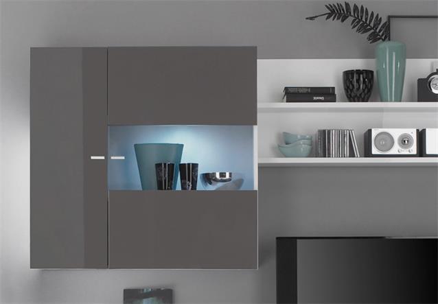 wohnwand primo d anbauwand wohnzimmer wei anthrazit echt hochglanz bielefeld. Black Bedroom Furniture Sets. Home Design Ideas