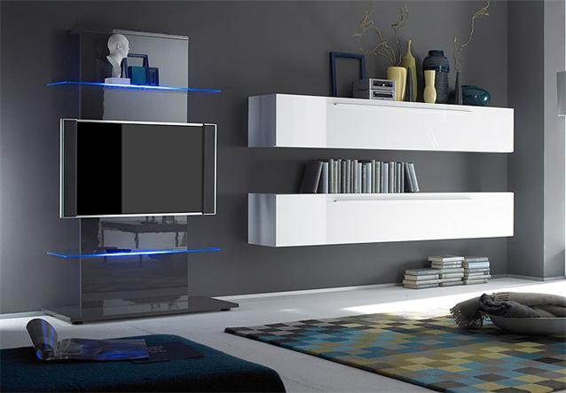 tv turm primo media m bel tv wand in anthrazit hochglanz lackiert ebay. Black Bedroom Furniture Sets. Home Design Ideas