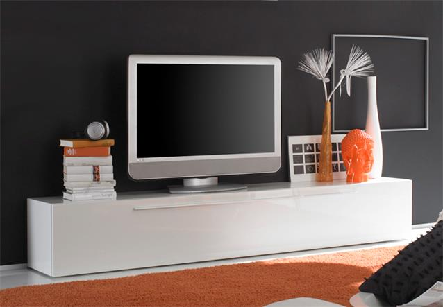 tv lowboard primo tv board in wei hochglanz lackiert mit. Black Bedroom Furniture Sets. Home Design Ideas