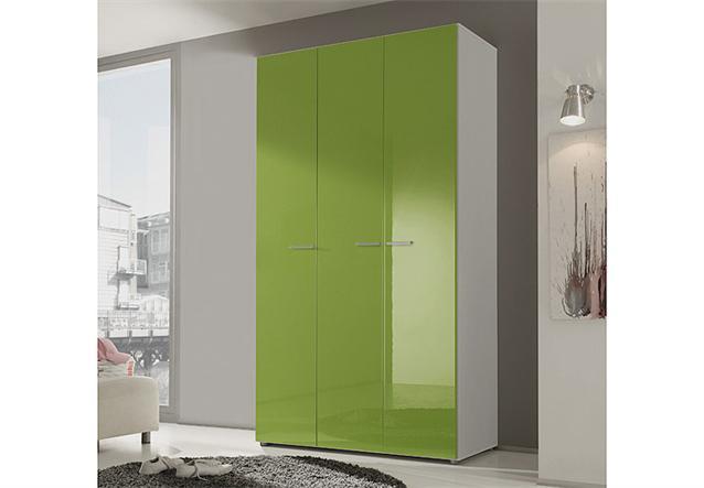 kleiderschrank smart schrank schlafzimmerschrank kiwi gr n hochglanz wei 120 cm ebay. Black Bedroom Furniture Sets. Home Design Ideas