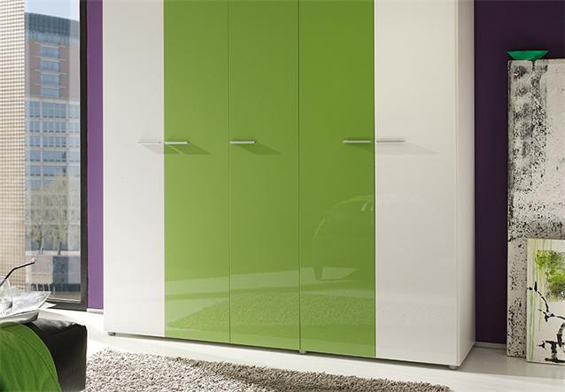 kleiderschrank smart schrank schlafzimmerschrank wei kiwi gr n hochglanz 198 cm ebay. Black Bedroom Furniture Sets. Home Design Ideas
