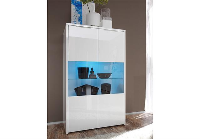 vitrine sorrento schrank buffetschrank highboard wei echt hochglanz lack ebay. Black Bedroom Furniture Sets. Home Design Ideas