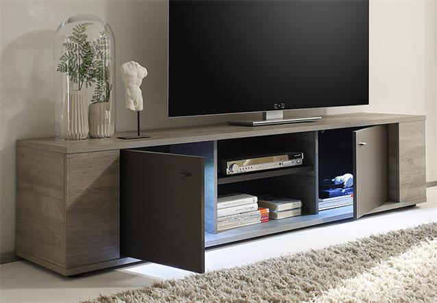 tv element sidney lowboard kommode eiche grau anthrazit matt inkl led 190 cm ebay. Black Bedroom Furniture Sets. Home Design Ideas